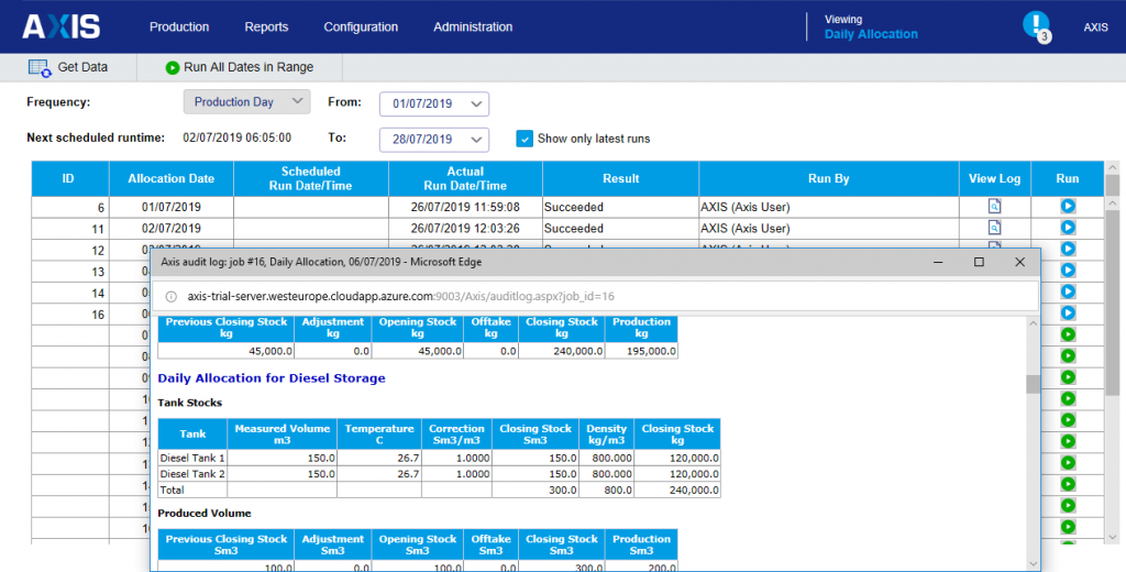 Extract of Daily Allocation Process Log
